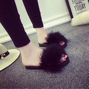 Shoes - Womens Feather Slide Slip Sandals Black Shoes
